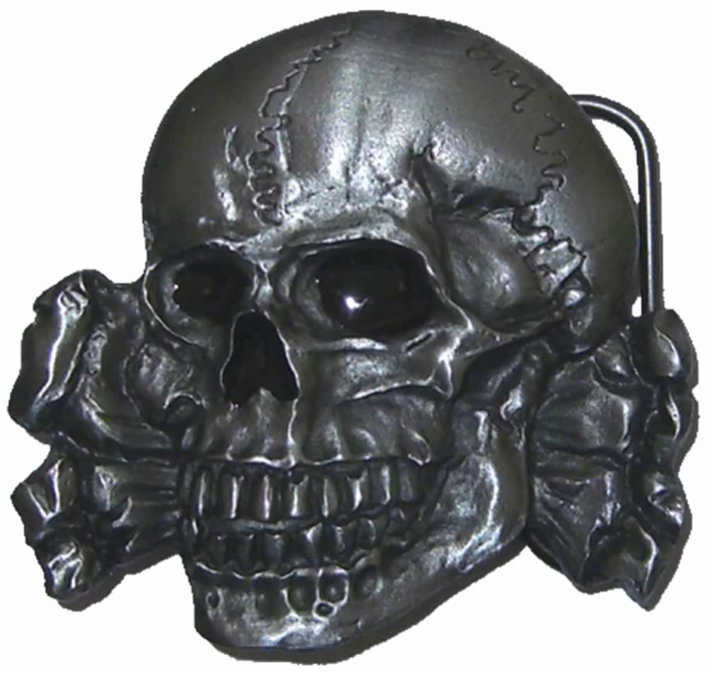 Totenkopf Skull And Crossbones Belt Buckle With Display